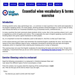 Essential wine vocabulary & terms exercise