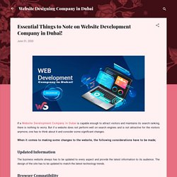 Essential Things to Note on Website Development Company in Dubai!