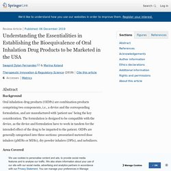 Understanding the Essentialities in Establishing the Bioequivalence of Oral Inhalation Drug Products to be Marketed in the USA