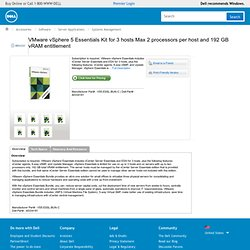VMware vSphere 5 Essentials Kit for 3 hosts Max 2 processors per host and 192 GB vRAM entitlement : Software