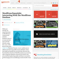 WordPress Essentials: Interacting With The WordPress Database - Smashing WordPress