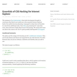 Essentials of CSS Hacking For Internet Explorer