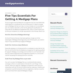 Five Tips Essentials For Getting A Medigap Plans