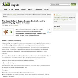 The Essentials of Supporting an Online Learning Community |