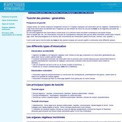 Notions essentielles concernant les plantes toxiques : Généralités