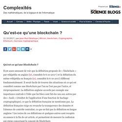 Qu'est-ce qu'une blockchain ?