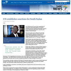 UN establishes sanctions for South Sudan :Tuesday 3 March 2015