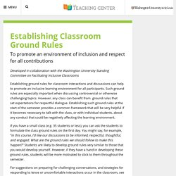 Establishing Classroom Ground Rules