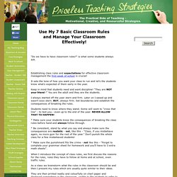 Establishing Classroom Rules and Expectations the First Week of School is Crucia