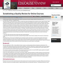 Establishing a Quality Review for Online Courses