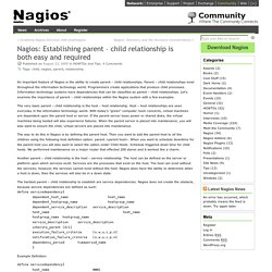 Nagios: Establishing parent – child relationship is both easy and required « Nagios Community