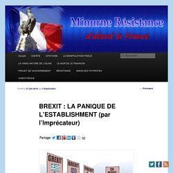 BREXIT : LA PANIQUE DE L'ESTABLISHMENT