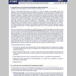Lenguajes y estándares - Introducción al currículo de estándares web/contenidos