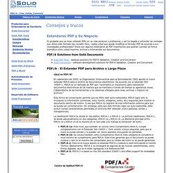 Estandares PDF y Su Negocio: PDF/A, Escanear a PDF, PDF a TIFF, Crear PDF/A