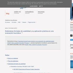 Estándares formales de usabilidad y su aplicación práctica en una evaluación heurística