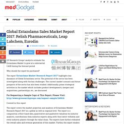 Global Estazolams Sales Market Report 2017: Relish Pharmaceuticals, Leap Labchem, Eurodin
