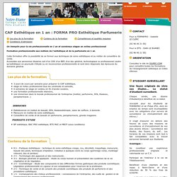 CAP Esthétique en 1 an : FORMA PRO Esthétique Parfumerie Pole étudiant Notre-Dame Guingamp