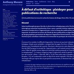 À défaut d'esthétique : plaidoyer pour un design graphique des publications de recherche