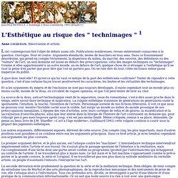 """Æ - Volume 1 : A. CAUQUELIN, L'Esthétique au risque des """"technimages"""""""