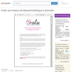 Créer son institut de Beauté Esthétique à domicile - PDF Téléchargement Gratuit