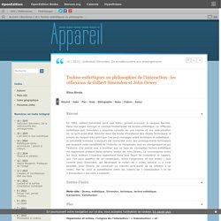 Techno-esthétiques ou philosophies de l'interaction: les réflexions de Gilbert Simondon et John Dewey