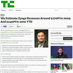 We Estimate Zynga Revenues Around $270M In 2009 And $240M In 2010 YTD