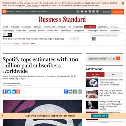 Spotify tops estimates with 100 million paid subscribers worldwide