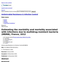 Antimicrobial Resistance & Infection Control 12/12/16 Estimating the morbidity and mortality associated with infections due to multidrug-resistant bacteria (MDRB), France, 2012