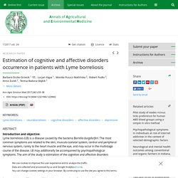 Ann Agric Environ Med 2017;24(1):33–38 Estimation of cognitive and affective disorders occurrence in patients with Lyme borreliosis