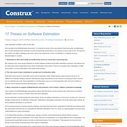 17 Theses on Software Estimation-10x Software Development