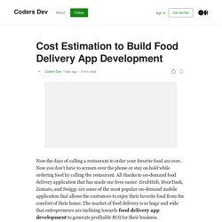 Cost Estimation to Build Food Delivery App Development