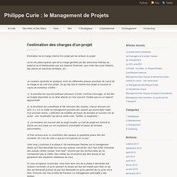 l'estimation des charges d'un projet « Blog de Philippe Curie