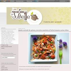 Salade estivale de quinoa, crevettes marinées à l'ail et tomates cerise rôties