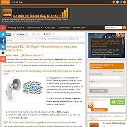 """Estrategia SEO """"On Page"""", Posicionamiento web y mis palabras clave - Un Mix de Marketing Digital"""