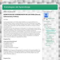 Estrategias del Aprendizaje : EJERCICIOS DE COMPRENSIÓN DE LECTORA (literal, inferencial y Critica)