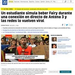 Un estudiante simula beber Fairy durante una conexión en directo de Antena 3 y las redes lo vuelven viral