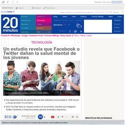 Un estudio revela que Facebook o Twitter dañan la salud mental de los jóvenes