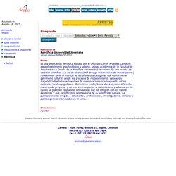 Apuntes: Revista de Estudios sobre Patrimonio Cultural - Journal of Cultural Heritage Studies - Home Page