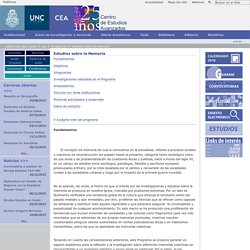 Estudios sobre la Memoria — Universidad Nacional de Córdoba