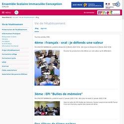 Blog - Vie de l'établissement - COLLEGE PRIVE IMMACULE CONCEPTION