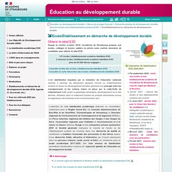 Ecole/Etablissement en démarche de développement durable - Éducation au développement durable