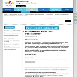 l'Etablissement Public Local d'Enseignement - SNES