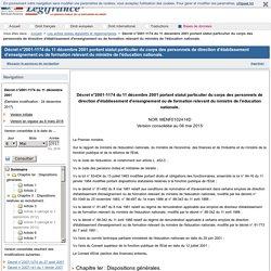 Décret n°2001-1174 du 11 décembre 2001 portant statut particulier du corps des personnels de direction d'établissement d'enseignement ou de formation relevant du ministre de l'éducation nationale.