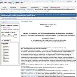 2014-940 du 20 août 2014 relatif aux obligations de service et aux missions des personnels enseignants exerçant dans un établissement public d'enseignement du second degré