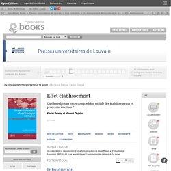 Un enseignement démocratique de masse - Effet établissement - Presses universitaires de Louvain