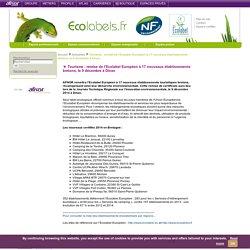 Tourisme : remise de l'Ecolabel Européen à 17 nouveaux établissements bretons, le 9 décembre à Dinan / Actualités