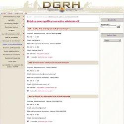 Etablissements publics à caractère administratif - Direction générale des ressources humaines de la Polynésie française