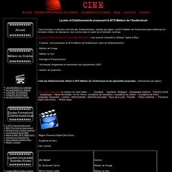 Liste des Etablissements proposant le BTS Métiers de l'Audiovisuel en France