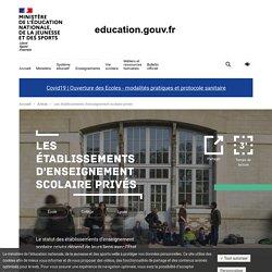 Les établissements d'enseignement scolaire privés