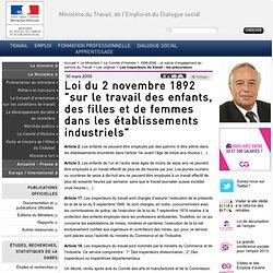 """Loi du 2 novembre 1892 """"sur le travail des enfants, des filles et de femmes dans les établissements industriels"""""""